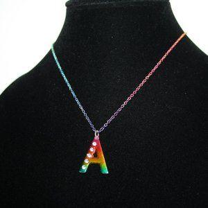"Pretty A rainbow necklace 16-19"""